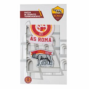 AS Roma Iron on Patch Twin Set (7 x 6cm/5 x 4cm Approx)