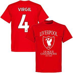 Liverpool 2020 League Champions Crest Virgil 4 KIDS T-shirt - Red