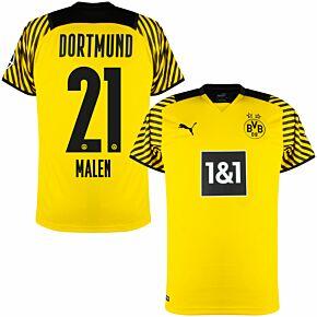 21-22 Borussia Dortmund Home Shirt + Malen 21 (Official Printing)