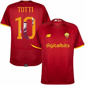 21-22 AS Roma Home Shirt + Totti 10 (Gallery Style)