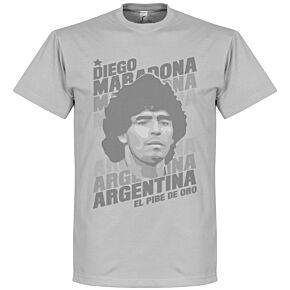Diego Maradona Portrait Tee - Grey