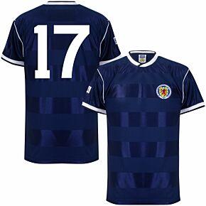 1986 Scotland Home Retro Shirt + No. 17 (Retro Flock Printing