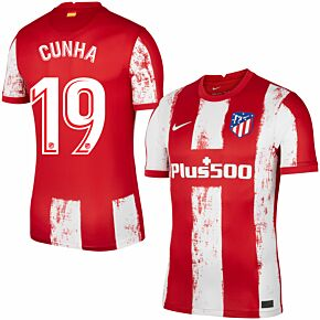21-22 Atletico Madrid Home Shirt + Cunha 19 (Official Printing)