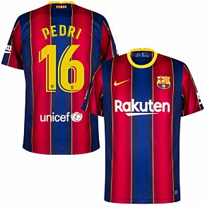 20-21 Barcelona Home Shirt + Pedri 16 (Match Pro Printing)