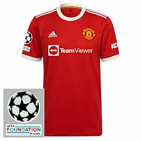 21-22 Man Utd Home Shirt + UCL Starball + UEFA Foundation Patches