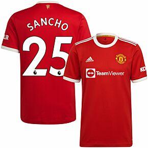 21-22 Man Utd Home Shirt + Sancho 25 (Premier League)