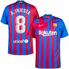 21-22 Barcelona Home Shirt + A.Iniesta 8 (Official Printing)