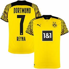 21-22 Borussia Dortmund Home Shirt + Reyna 7 (Official Printing)