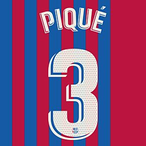 Piqué 3 (Official Printing) - 21-22 Barcelona Home