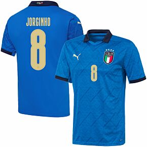 20-21 Italy Home Shirt + Jorginho 8 (Official Printing)