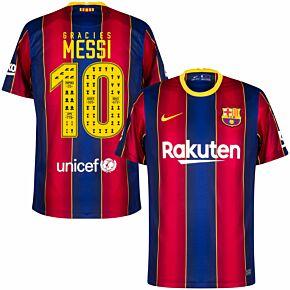 20-21 Barcelona Home Shirt + Gràcies Messi 10 (Celebration Printing)
