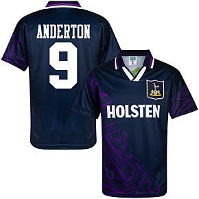1994 Tottenham Away Retro Shirt + Anderton 9 (Retro Flock Printing)