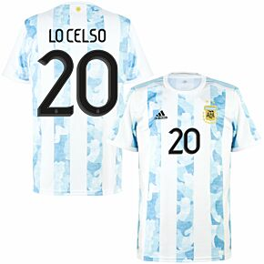 2021 Argentina Home Shirt + Lo Celso 20 (Official Printing)