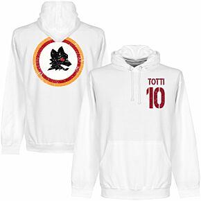 Roma Vintage Crest Totti 10 KIDS Hoodie - White