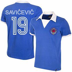 80-81 Yugoslavia Home Retro Shirt + Savićević 19 (Retro Flock Printing)