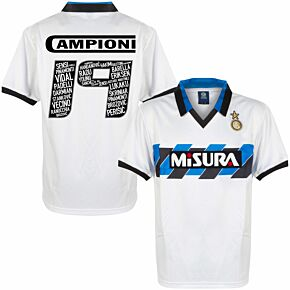 1990 Inter Milan Away Retro Shirt + Campioni 19 Squad Printing
