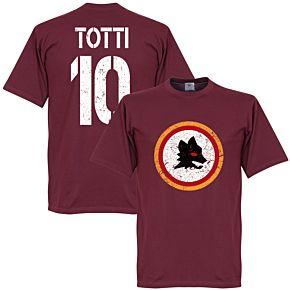 Roma Vintage Crest with Totti 10 Tee - Maroon
