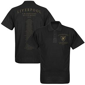 Liverpool Crest Champions of Europe Squad Polo Shirt - Black
