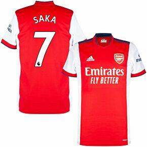 21-22 Arsenal Home Shirt + Saka 7 (Premier League)