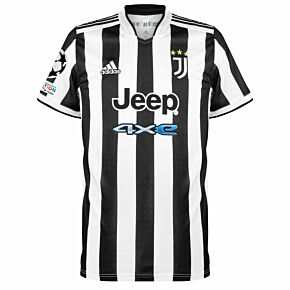 21-22 Juventus Home Shirt + UCL Starball + UEFA Foundation Patches