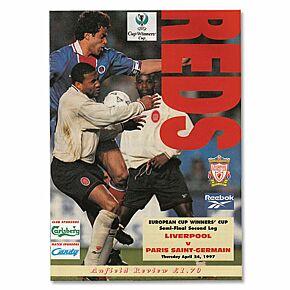Liverpool vs PSG UEFA Cup Winners Cup Semi-Final 2nd Leg Program - April 24, 1997