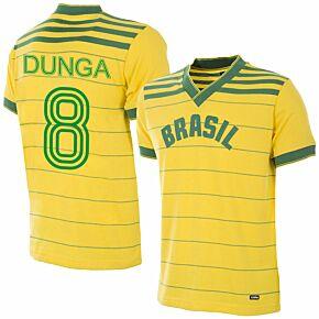 1984 Brazil Home Olympics Retro Shirt + Dunga 8 (Retro Flock Printing)