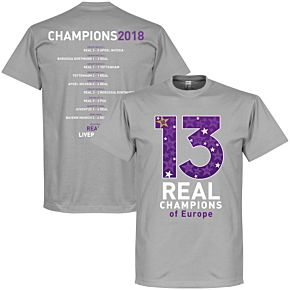 Real 2018 C/L 13 Times Road to Victory Winners Tee - Grey