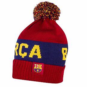 20-21 Barcelona Pom Beanie Hat - Red/Navy