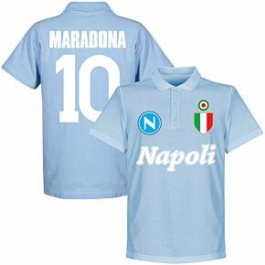Napoli Team Maradona 10 Polo Shirt - Sky
