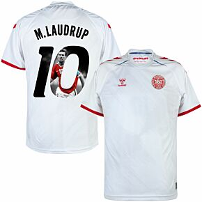 21-22 Denmark Away Shirt + M. Laudrup 10 (Gallery Style)