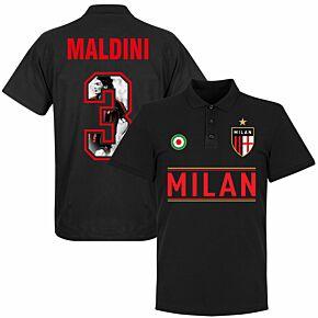AC Milan Maldini 3 Gallery Tea m Polo - Black