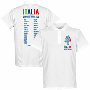 Italia Champions of Europe 2020 Squad Polo Shirt - White