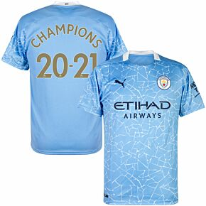 20-21 Man City Home Shirt + Champions 20-21 (Official Premier League Printing)