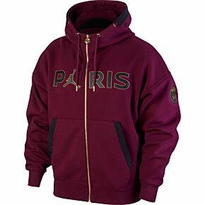 20-21 PSG x Jordan FZ Travel Fleece - Bordeaux/Black