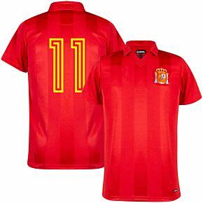 1984 Spain Home Retro Shirt + No.11 (Retro Flock Printing)