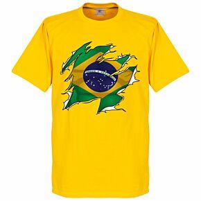 Brazil Boys Ripped Flag Tee