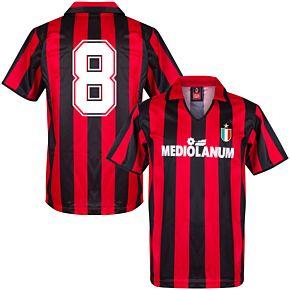1988 AC Milan Home Retro Shirt + No.8 (Retro Flock Printing)