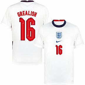 20-21 England Home Shirt + Grealish 16 (Fanstyle)
