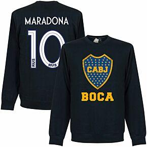 Boca Maradona 10 CABJ Crest  Sweatshirt - Navy (19-20  Style Back Print)