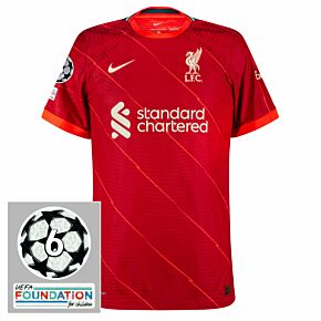 21-22 Liverpool Dri-Fit ADV Match Home Shirt + UCL Starball 6 Times Winner + UEFA Foundation Patches