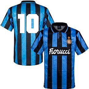 91-92 Inter Milan Home Retro Shirt + No.10 (Retro Flock Printing)