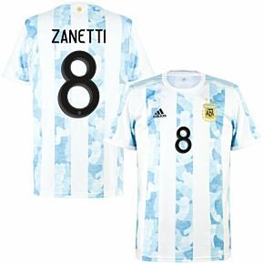 21-22 Argentina Home Shirt + Zanetti 8 (Official Printing)