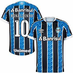 20-21 Gremio Home Shirt + Ronaldinho 10 (Fan Style Printing)