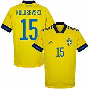20-21 Sweden Home Shirt + Kulusevski 15