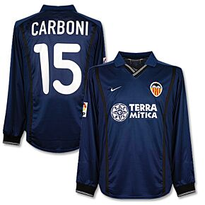 00-01 Valencia Away L/S Players Jersey + Carboni No.15