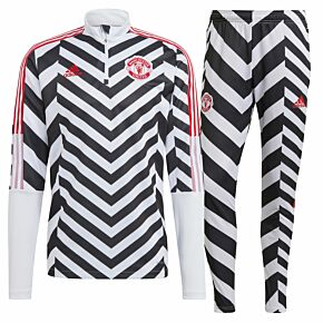 20-21 Man Utd Graphic Tracksuit - White/Black