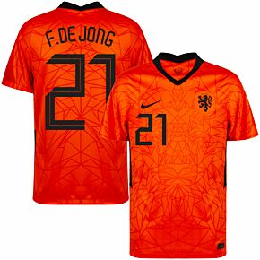 20-21 Holland Home Shirt + F. De Jong 21 (Fan Style Printing)