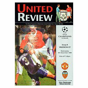 Man Utd vs Valencia C/L Group B Match at Old Trafford Program - Dec. 8, 1999