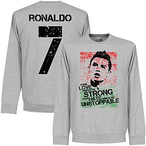 Ronaldo 7 Portugal Flag Sweatshirt - Grey