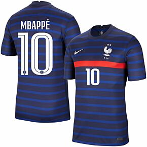 20-21 France Home Shirt + Mbappé 10 (Official Printing)